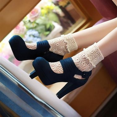 Women's Suede Round Toe Anti-Split High Chunky Heels Buckle Shoes on DressLuck.com