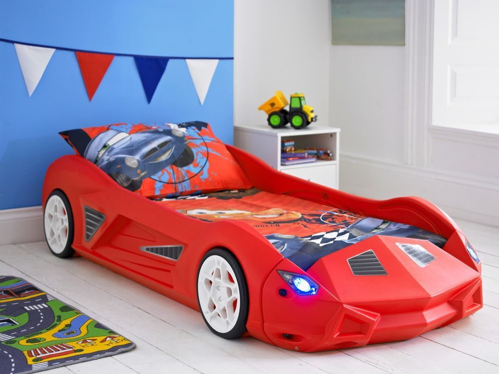 Kids Racing Car Bed & Mattress Childrens Junior Toddler With Optional Lights