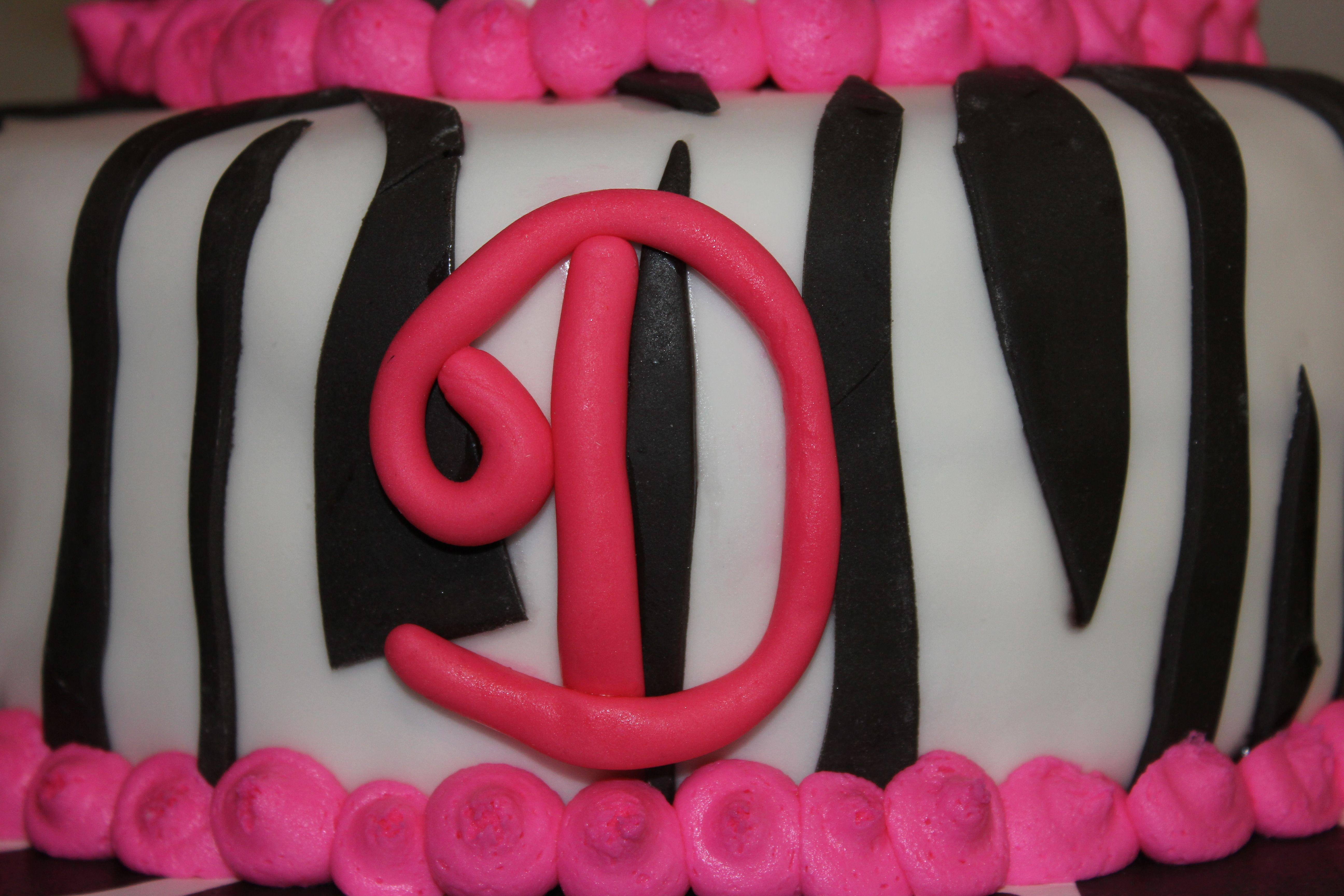 Zebra cake fondant decoration.