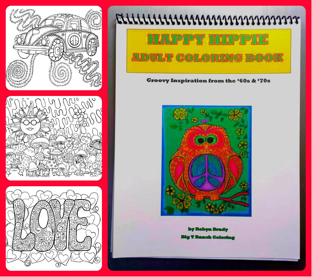 A personal favorite from my Etsy shop https://www.etsy.com/listing/265037877/hippie-coloring-book-printable-adult