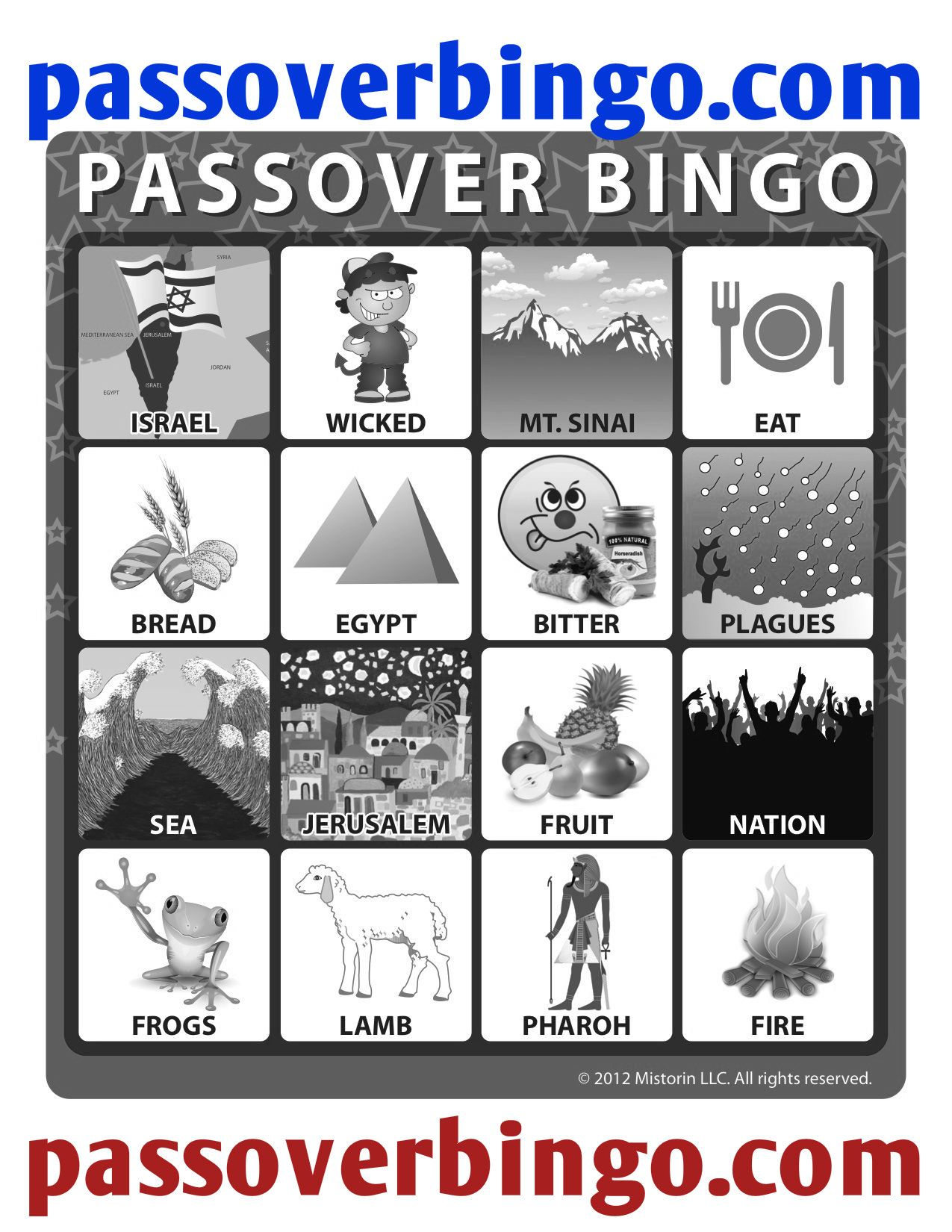 Passover Bingo Board Passover Coloring Sheet Enjoy