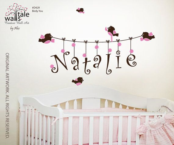 Perfect Wall Decal   Name Wall Decal For Girl Or Boy Nursery With Cute Birds.  Customiazble, Removable Nursery Wall Decal Part 5