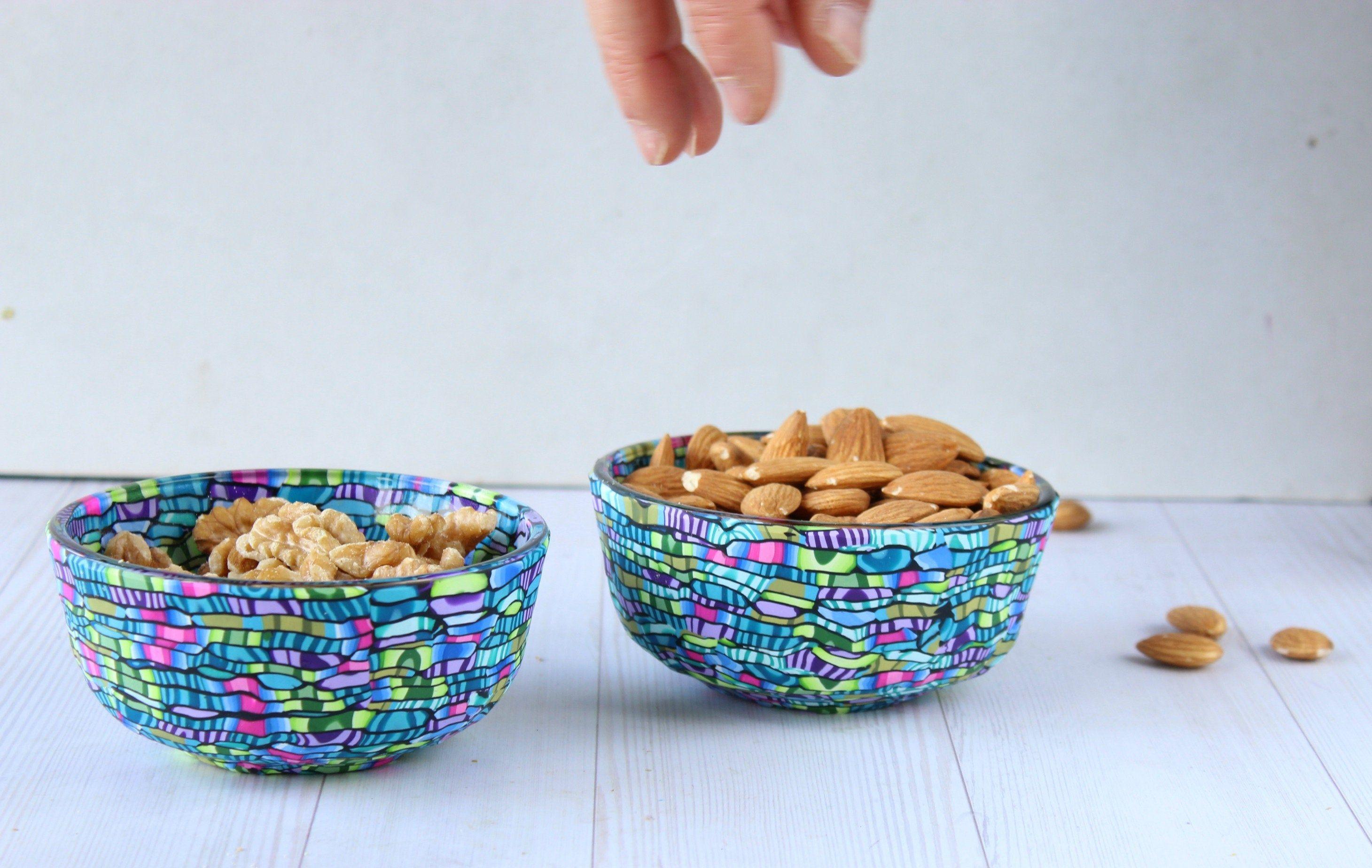 Turquoise bowl  dessert tapas nut serving snack