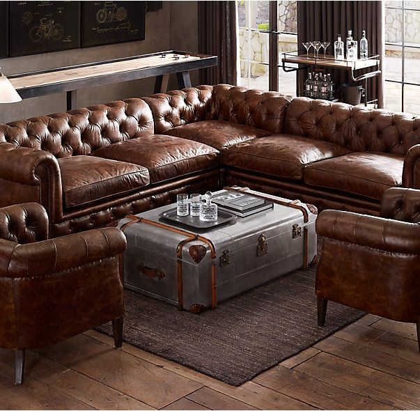 Kensington Leather Corner Sectional | Leather sofa, Man cave