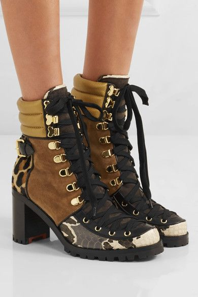 80038d12154 Christian Louboutin - Who Runs suede, elaphe, metallic leather and ...