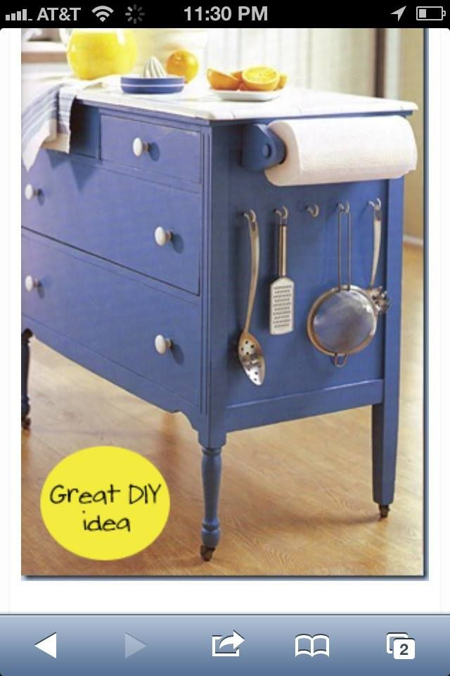 DIY End Table; Buffet Table; Cabinet Turned Efficient Kitchen Island; Add  The Wheels, Hooks, And Paper Towel Roll Yourself :)