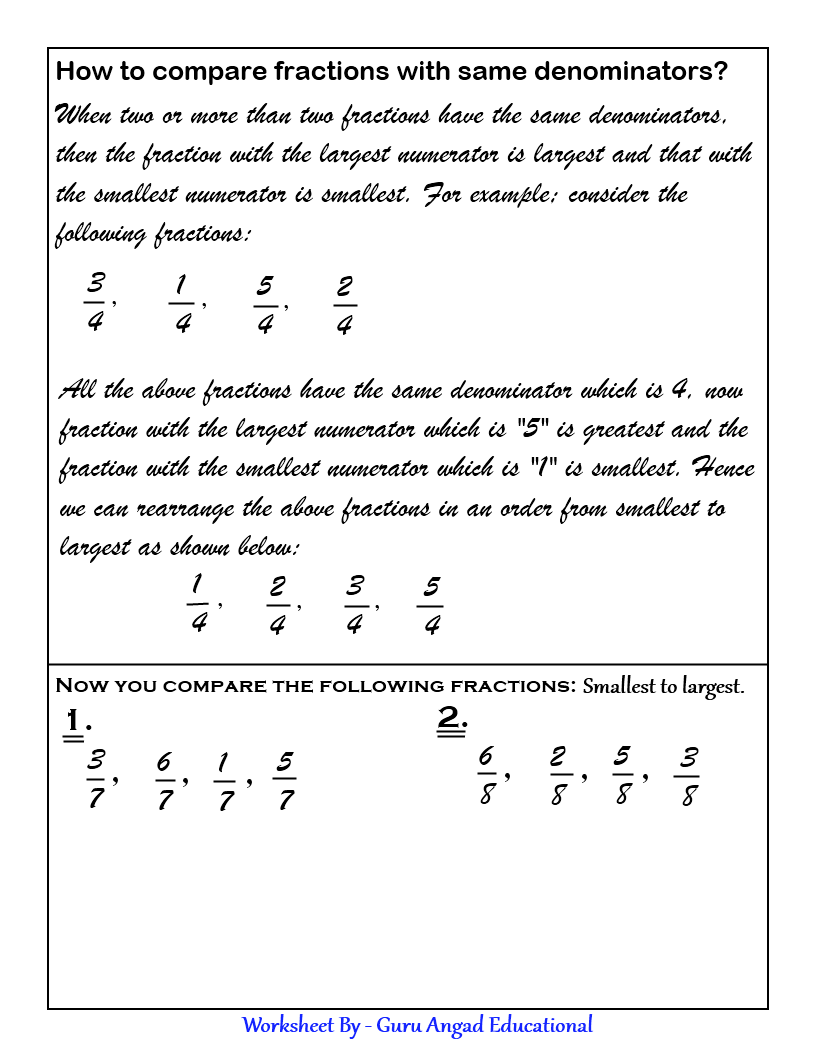 worksheet Comparing Fractions With The Same Denominator Worksheet comparing and ordering fractions cool math sites pinterest made easy