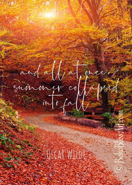 Autumn Quote Wall Decor Autumn Quotes Oscar Wilde Quotes Nature Prints