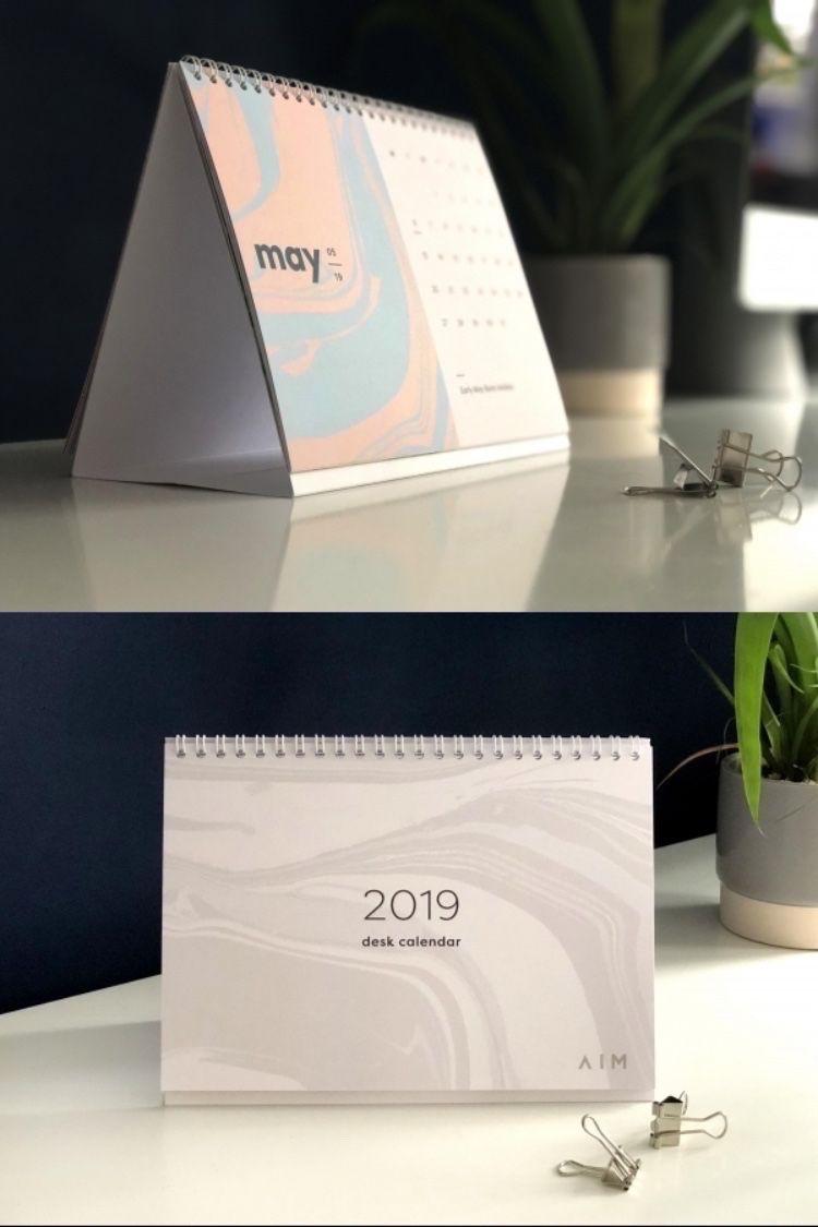 December 2019 Modern Typography Calendar 2019 wire bound desk calendar featuring modern hand marbled