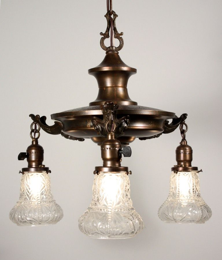 marvelous antique three light chandelier with glass shades c 1920s