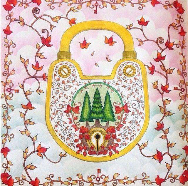 Johanna Basford Padlock Enchanted Forest Adult ColoringColoring BooksColoring