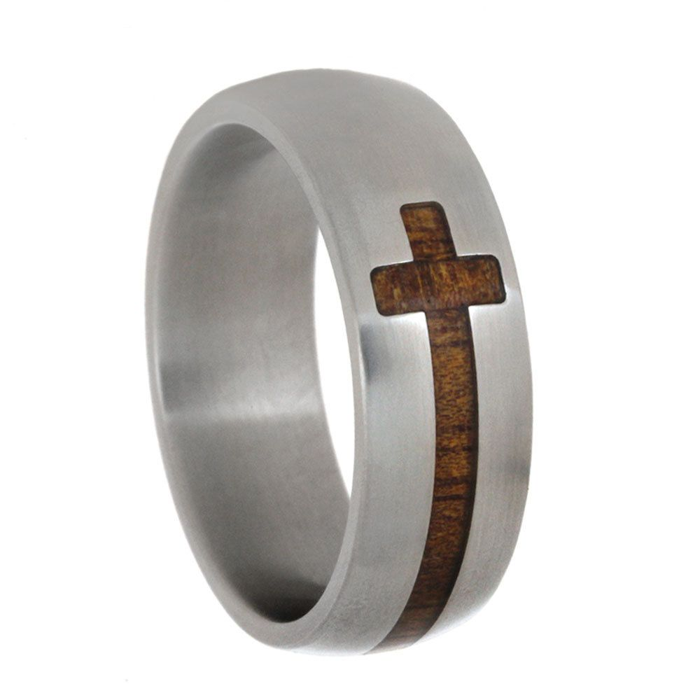 mens christian wedding bands Cross Ring Titanium Ring For Men With A Koa Wooden Cross Christian Jewelry