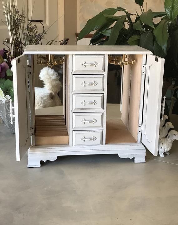 French Country Jewelry Armoire Upcycled Vintage Jewelry Box
