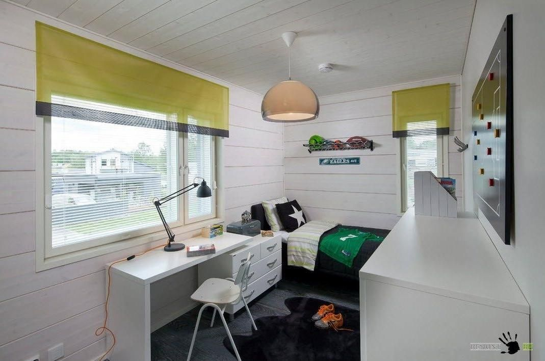 Black White Kid Room Design With Small Bed And Simply Study Set Towards The  Big Window With Blind And Shade Ideas Decorated By Lovely Pendant And White  ...
