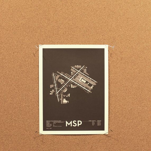 MSP Airport Diagram Poster by CHDesignWorks on Etsy