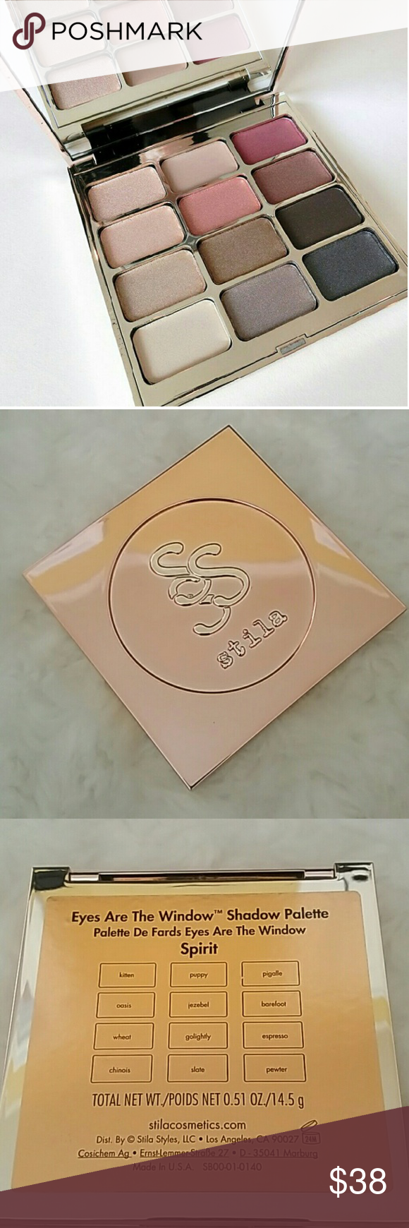 Stila Eyes Are the Window Eyeshadow Palette~Spirit Brand New without Box Stila Spirit Eyes Are the Window Eyeshadow Palette. This palette has never been Swatched or Used. Spirit shades include: Kitten (light champagne shimmer)Puppy (matte medium )Pigalle (rich deep burgundy matte)Oasis (light peach shimmer)Jezebel (light copper shimmer)Barefoot (warm brown shimmer)Wheat (light taupe shimmer)Golightly (medium bronze shimmer)Espresso (deep warm brown matte)Chinois (light cream matte)Slate…