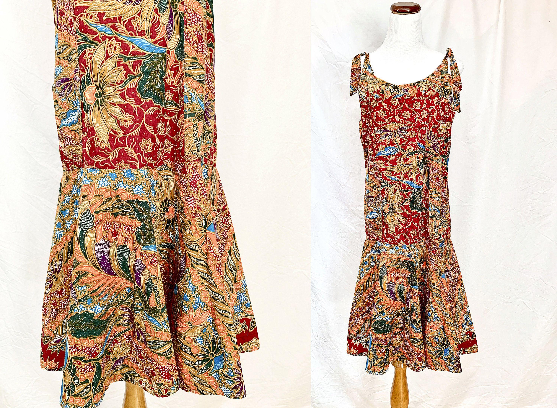 Vintage Green Floral Batik Print Button Up Sleeveless Tie Back Mini Dress S