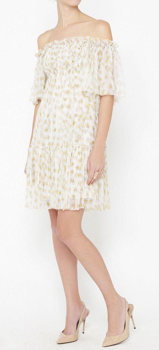 Diane von Furstenberg White, Yellow And Green Dress   VAUNTE <- love ...