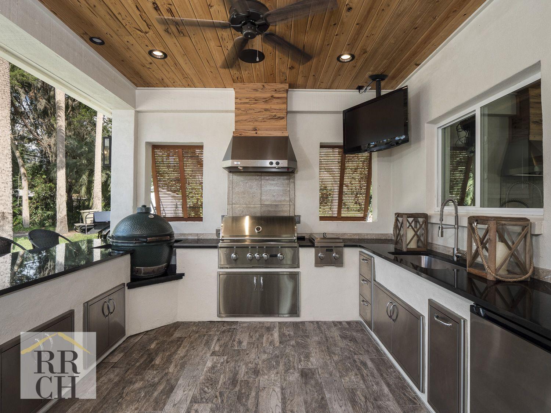 Black Granite Tops Stainless Steel Appliances Porcelain Tile Flooring Wood Paneling Ceiling