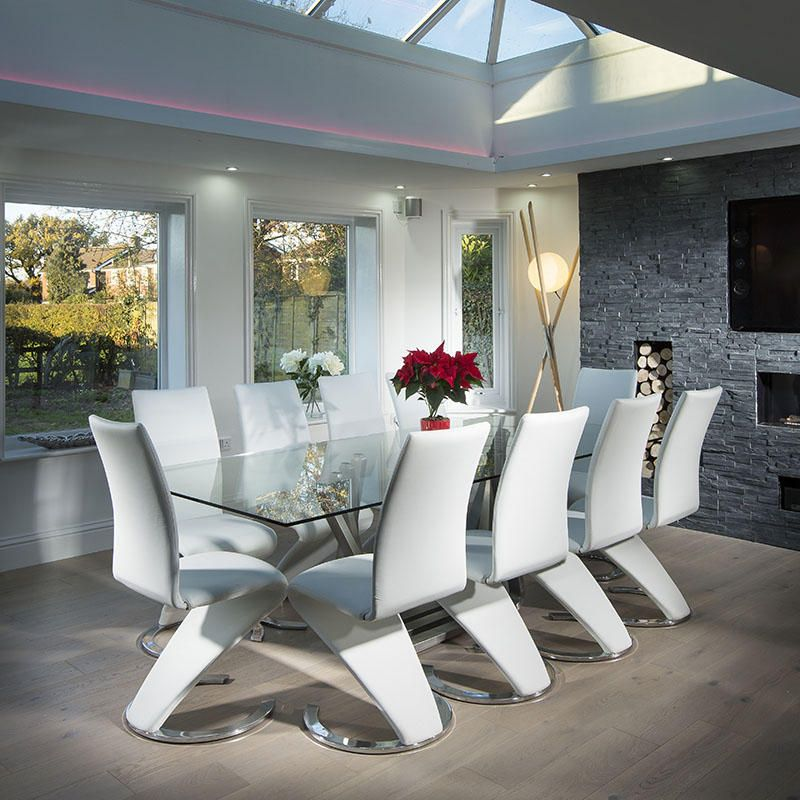 Modern Large 10 Seater Glass Stainless Steel Dining Table 240 X