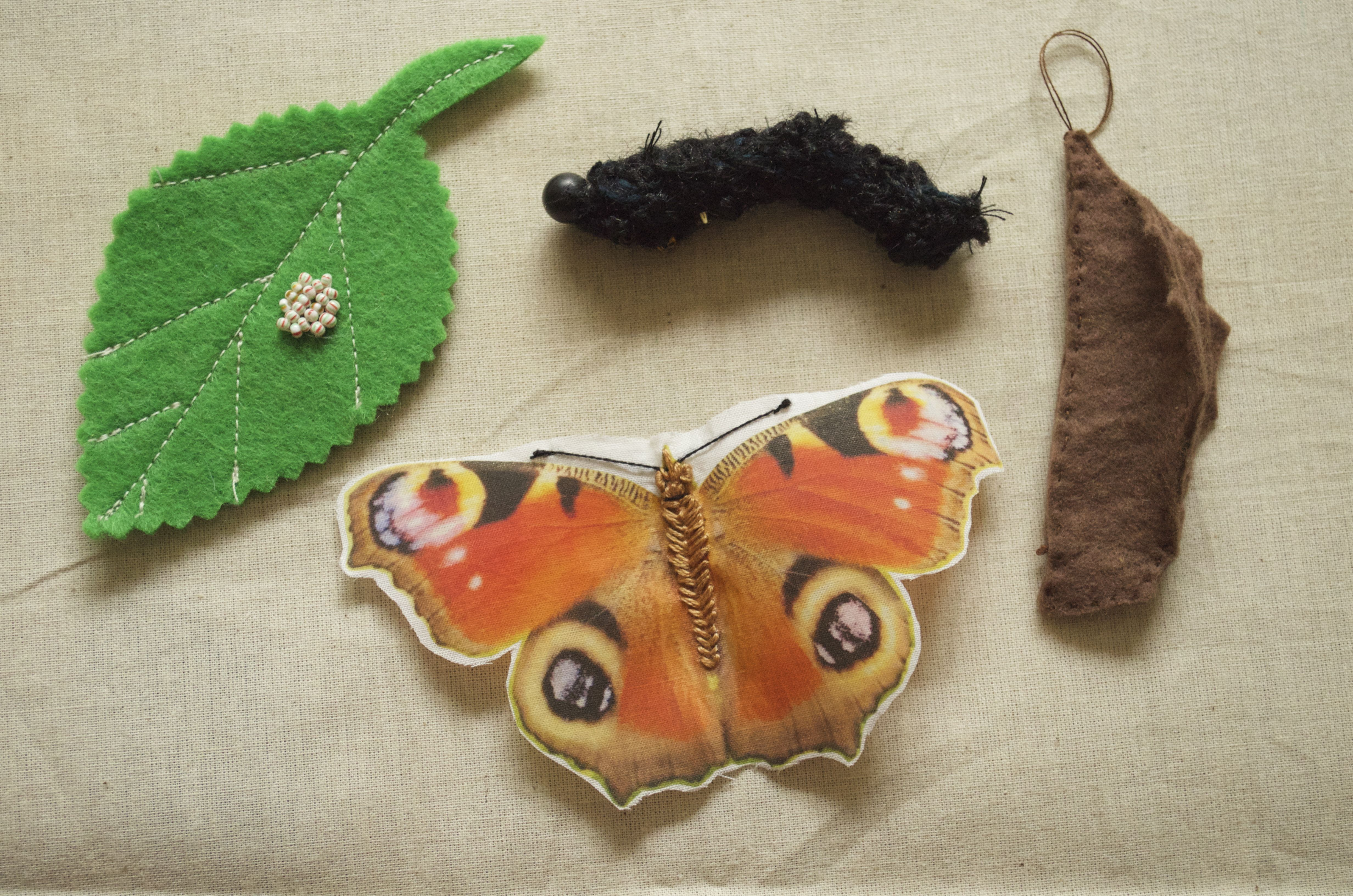 Peacock Butterfly Life Cycle Felt Leaf With Glass Bead