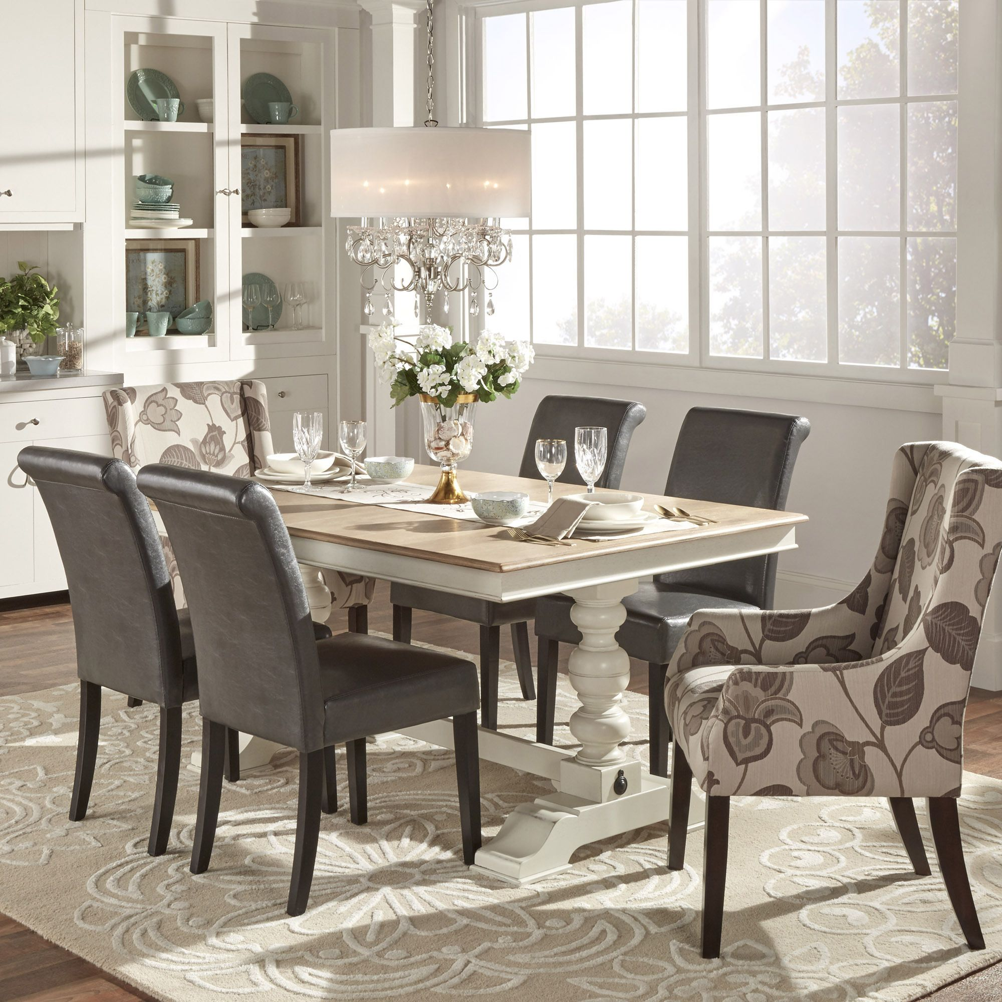 Kitchen Table Deals: McKay Country Antique White Pedestal Extending Dining
