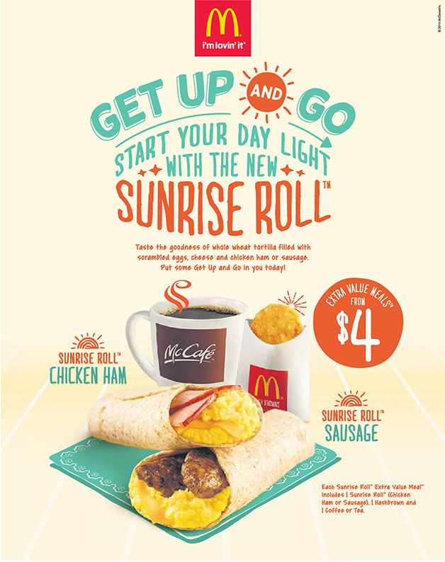 Mcdonald S Get Up Go Sunrise Roll Breakfast Bundle Extra Value Meals From 4 Only Dining Restaurants Great Deals Sing Dine Restaurant Meals Breakfast