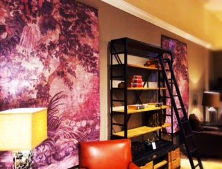 These reclaimed canvas panels from a former hotel provide a perfect opportunity for inexpensive over-sized artwork that has a feeling of history in your home.