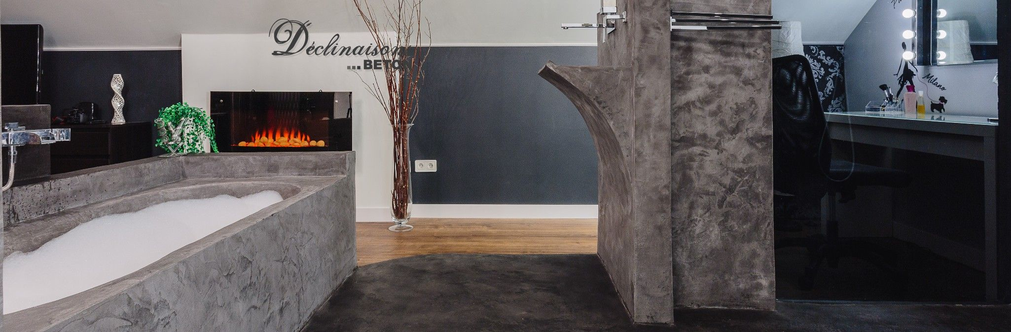 Salle De Bain En Mortex vue salle de bain en mortex. baignoir et �vier en mortex.