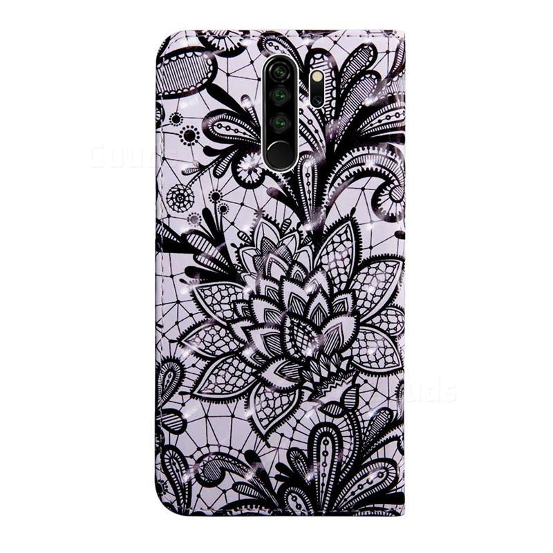 Black Lace Rose 3d Painted Leather Wallet Case For Mi Xiaomi Redmi Note 8 Pro Xiaomi Redmi Note 8 Pro Cases Guuds Leather Wallet Leather Wallet Case Black Leather Wallet