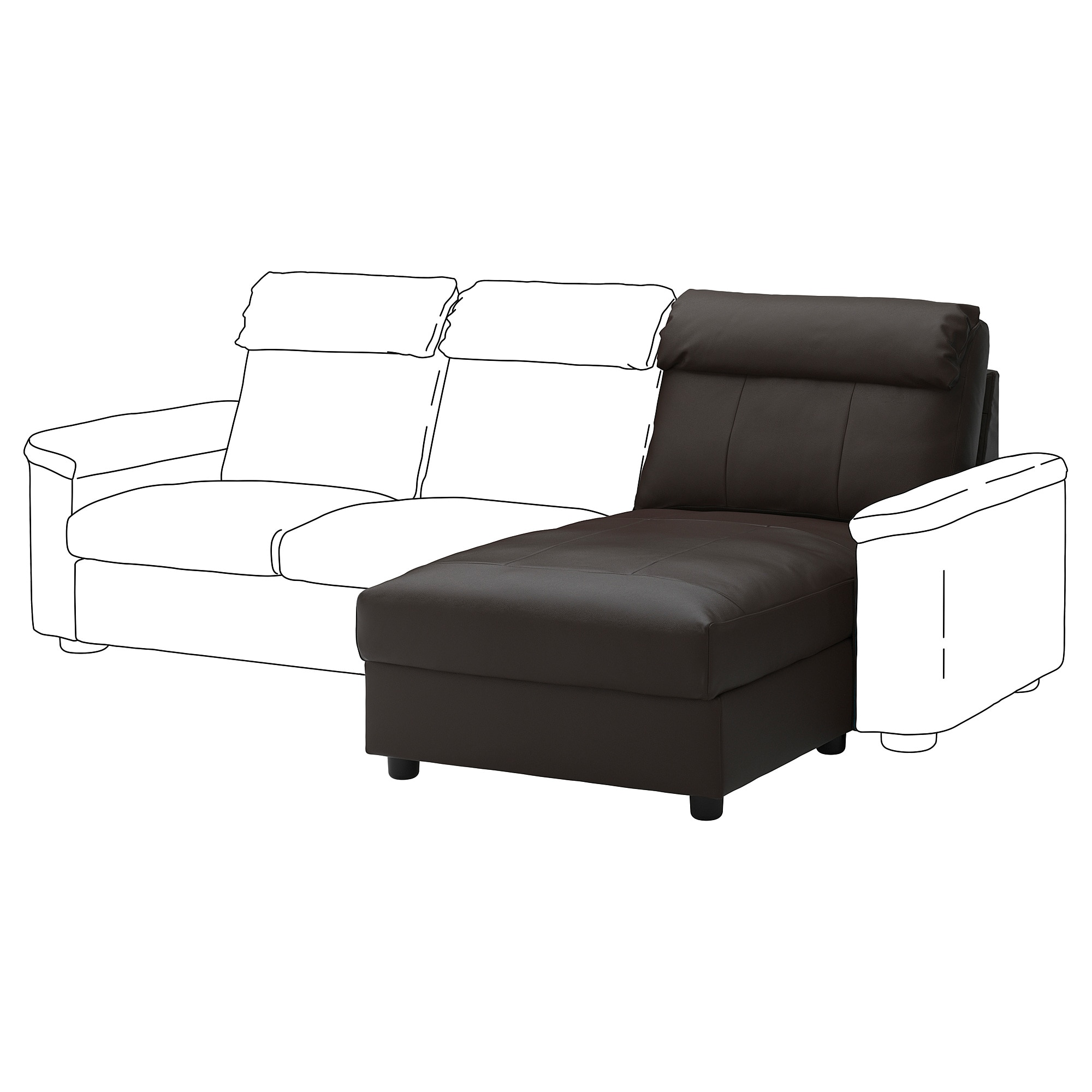LIDHULT Chaise section, Grann/Bomstad dark brown | Products ...