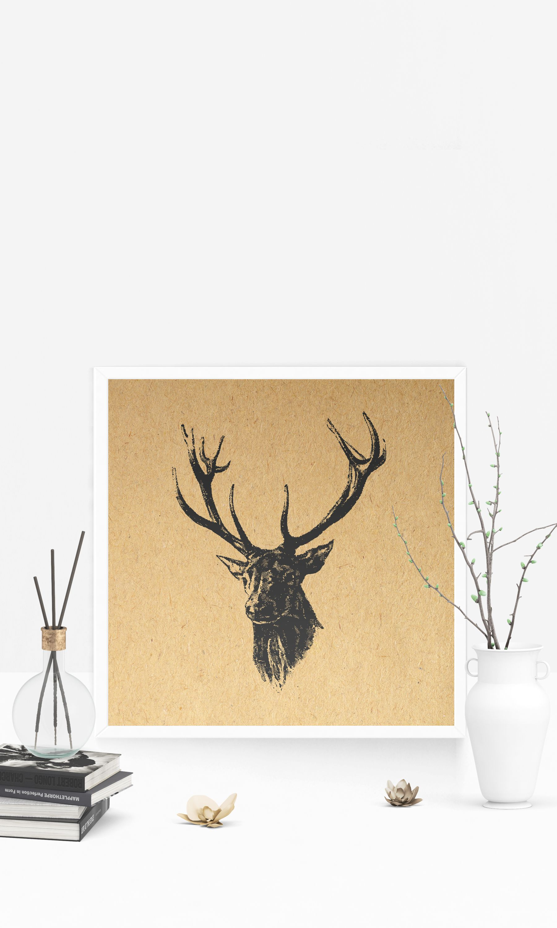 Vintage Deer with Antlers Illustrated Wall Art & Home Decoration ...