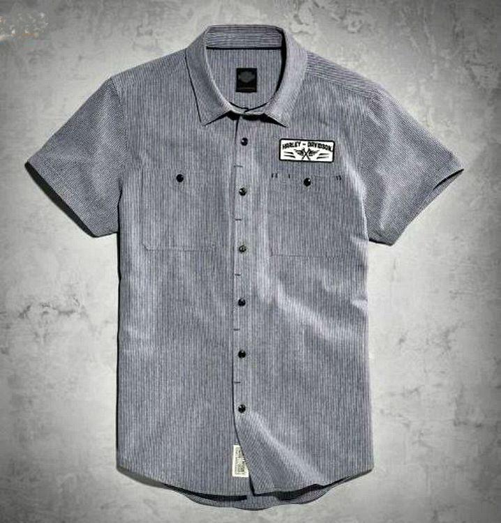 harley-davidson® men's micro-stripe mechanic's shirt in grey slim