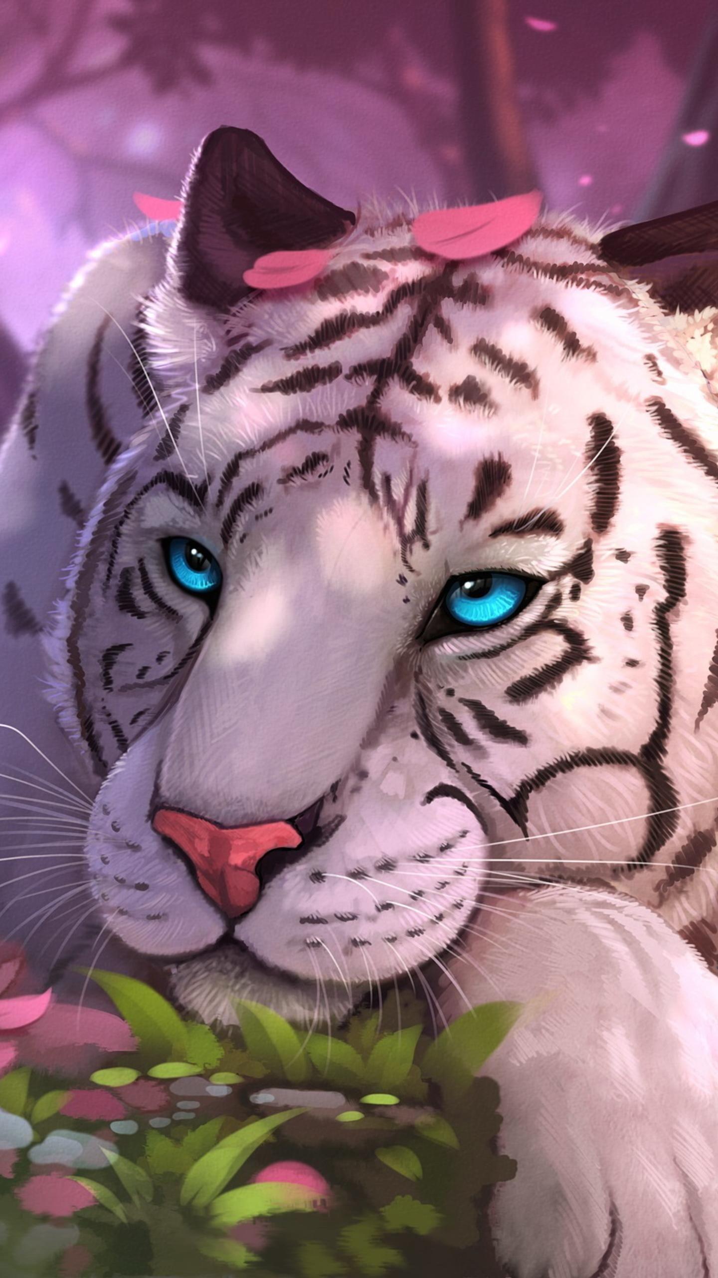 Background Fantasy White Tiger Wallpaper