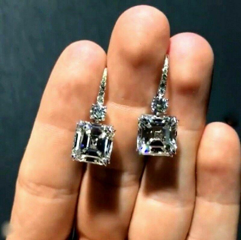 4Ct Round-Cut D//VVS1 Diamond Halo Stud Earrings Hip Hop 14K White Gold Finish