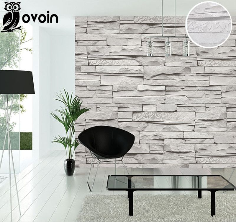 Background modern vintage gray faux brick wallpaper retro for Wallpaper on walls home decor furnishings