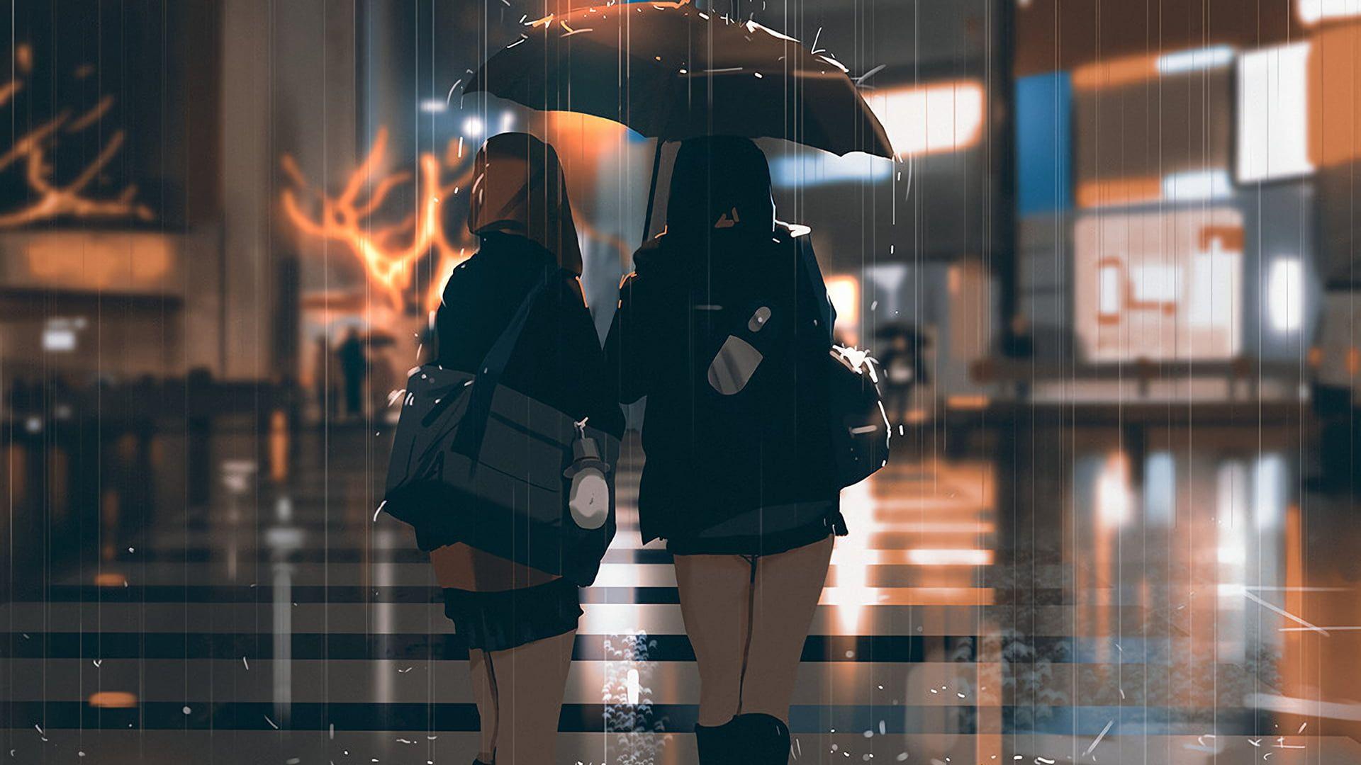 Person Holding Umbrella Illustration Digital Art Rain Road Women Umbrella 1080p Wallpaper Hdwallpaper De Ilustrasi Karakter Ilustrasi Fantasi Ilustrasi
