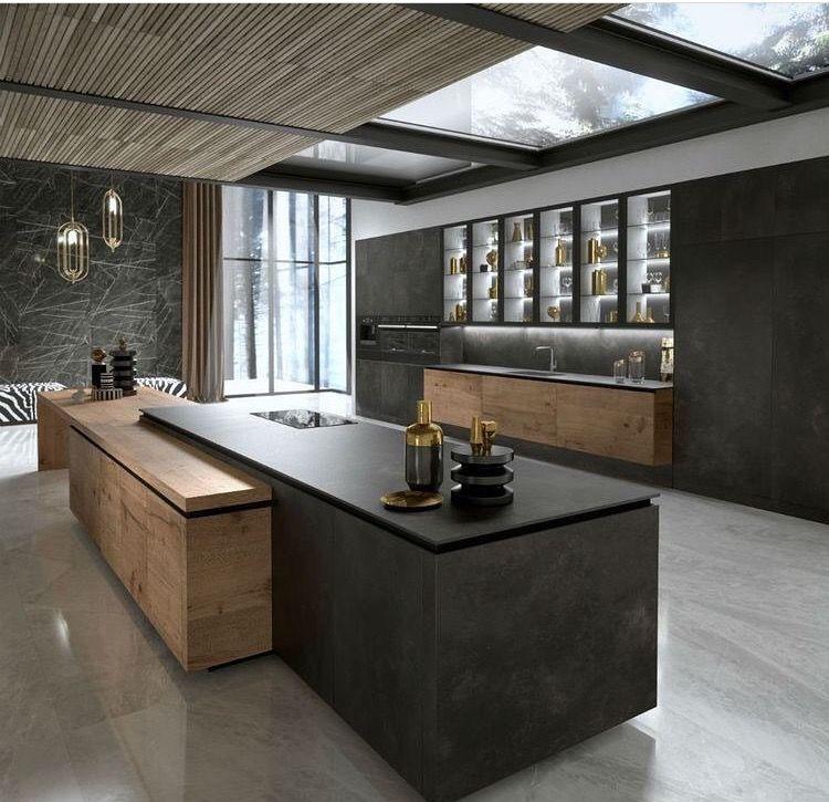 Alliance du bois et de la céramique pour cette cuisine et son îlot central #kitchen #decoration #architectureinterieure #contemporarykitcheninterior
