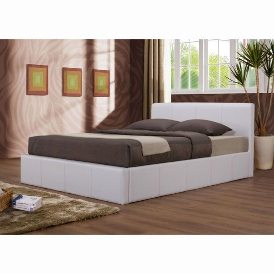 Ottoman White Faux Leather Bed In 2020 Leather Bed Leather Bed Frame Faux Leather Ottoman