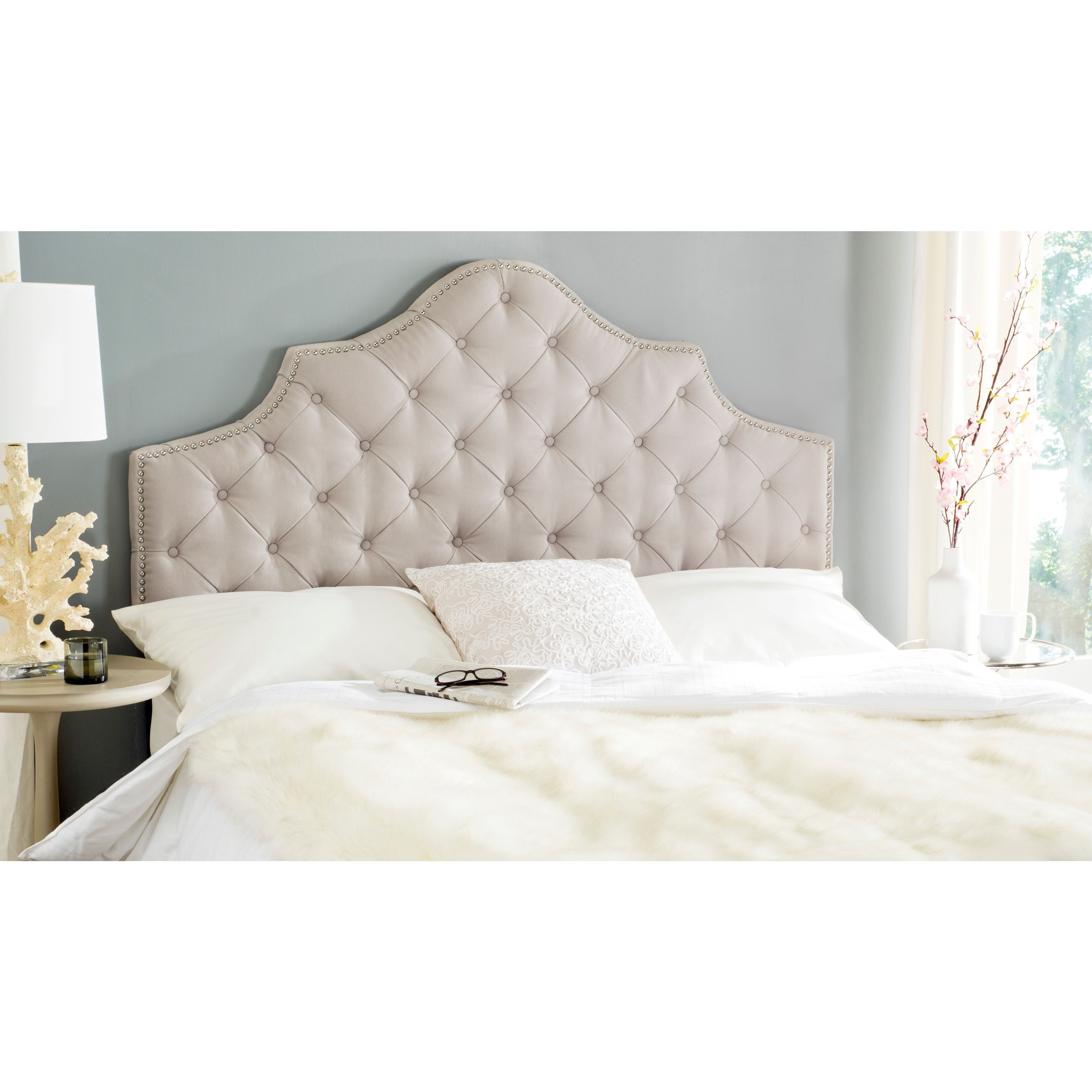 Safavieh Arebelle Taupe Linen Upholstered Tufted Headboard   Silver  Nailhead (King (MCR4037A),