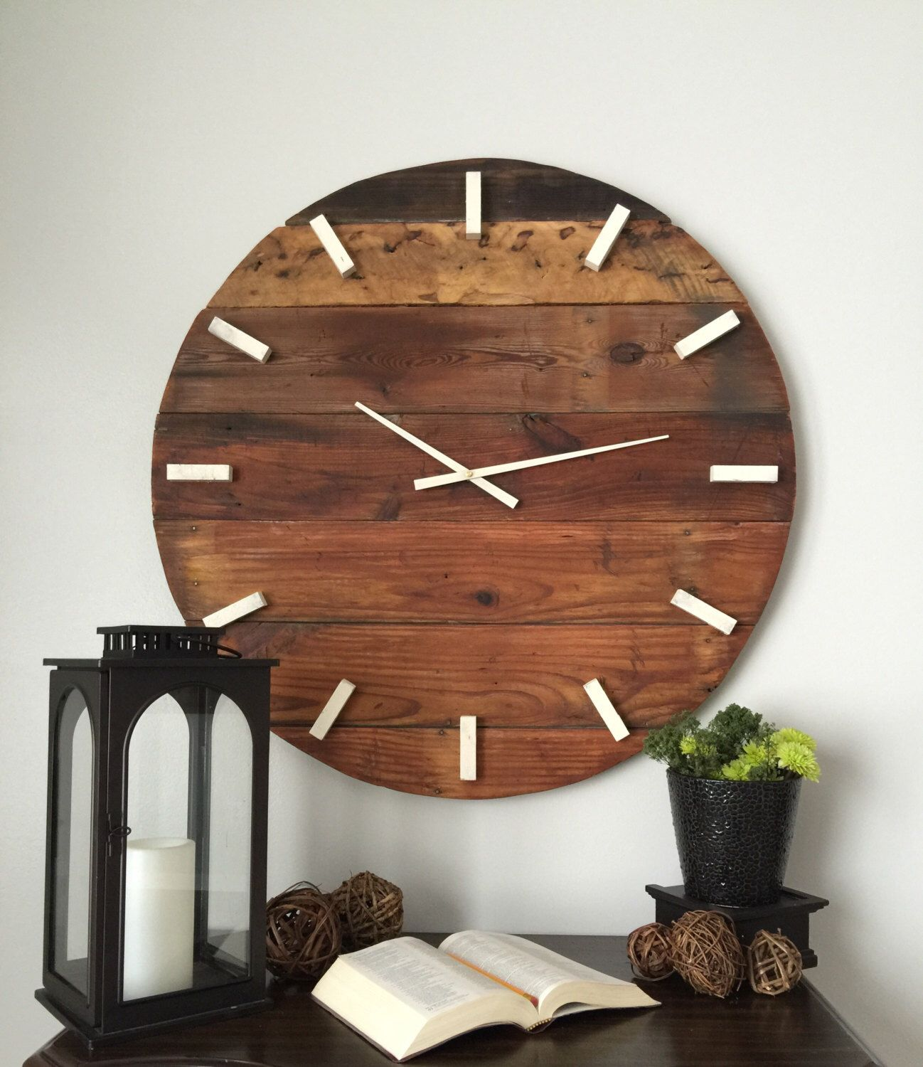 Rustic Wall Clock Oversized Large 31 Inch Wooden