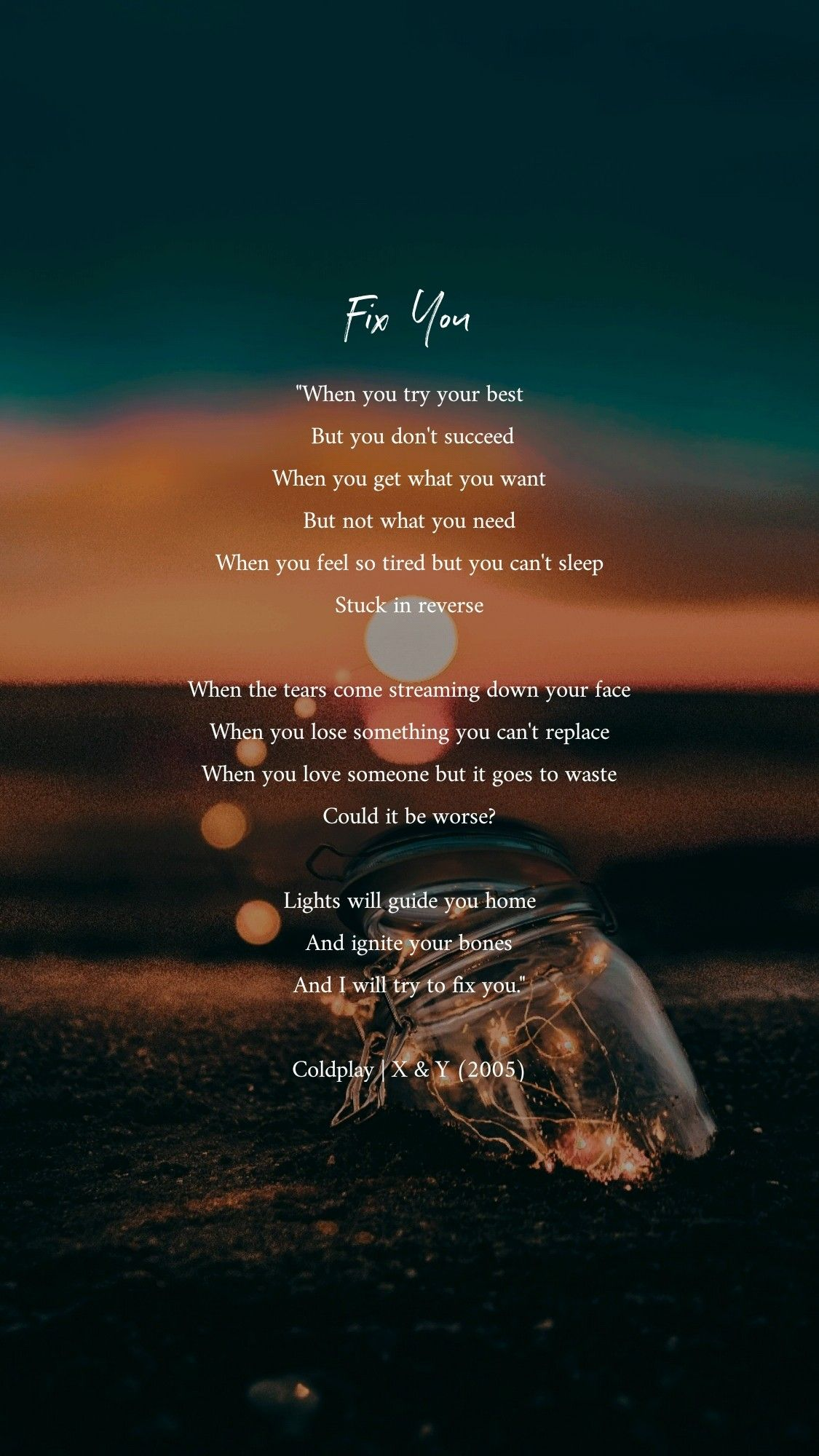Fix You Coldplay My Fav Song With Images Coldplay Lyrics