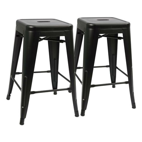 Modern 24 Inch Backless Metal Bar Stools In Black Set Of Two