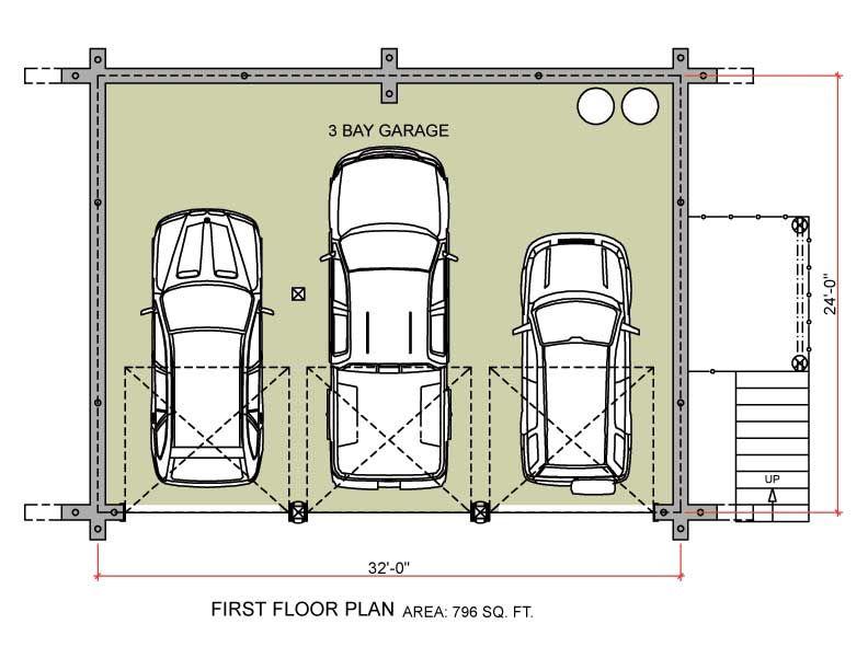3 car garage plans home plans over 26 000 for Deck over garage plans
