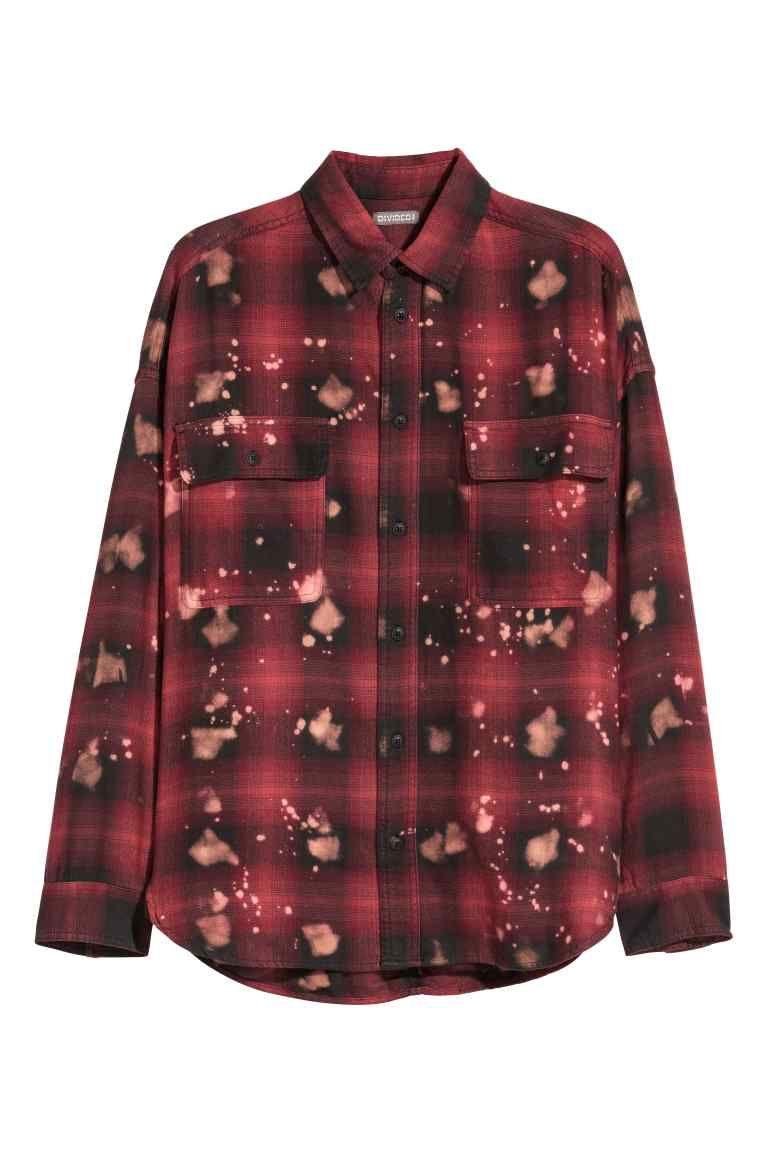 Overhemd Rood Zwart.Oversized Overhemd Rood Zwart Geruit Heren H M Nl H M