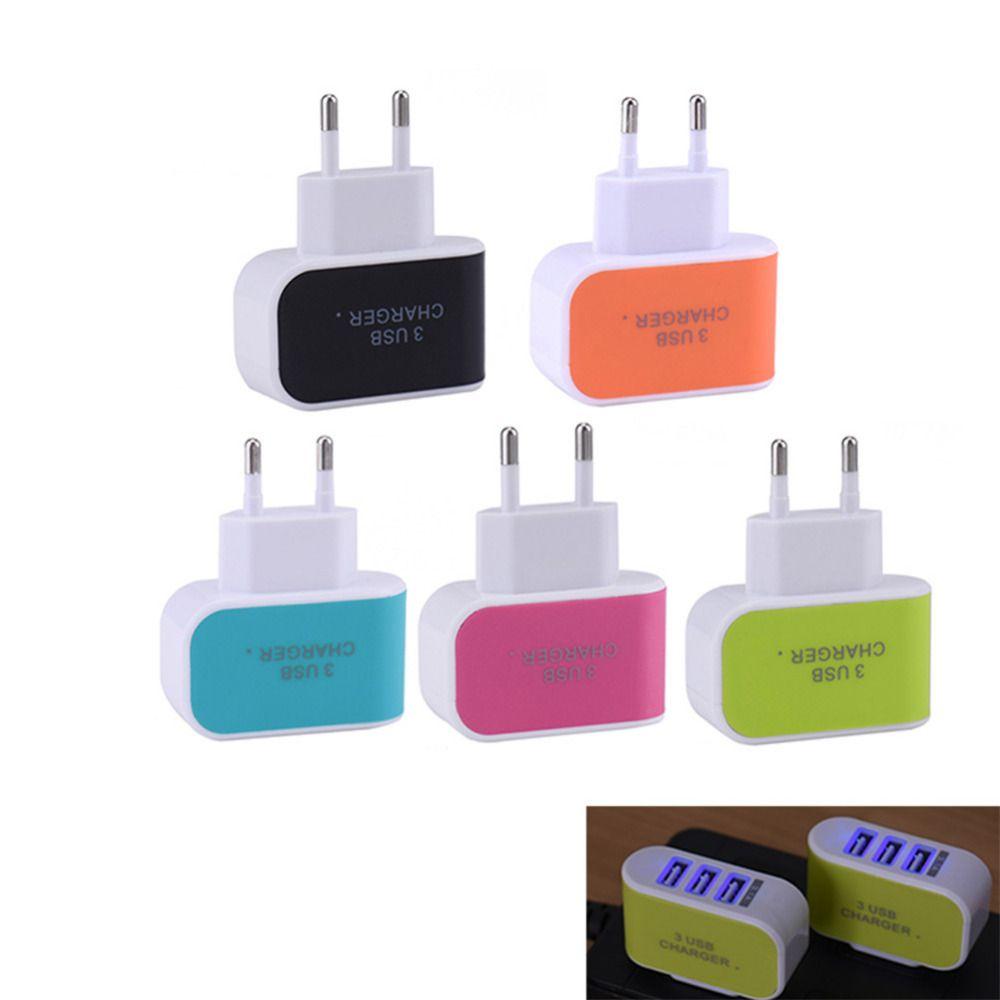 3 usbポート充電器euプラグアダプター壁の充電器eu旅行充電器ユニバーサル携帯電話タブレットcarregador eu標準