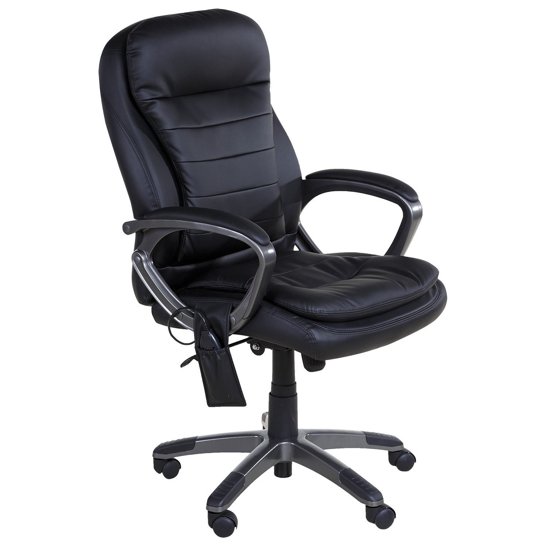 Relaxzen 603383 Black Leather Pillowtop Executive Chair