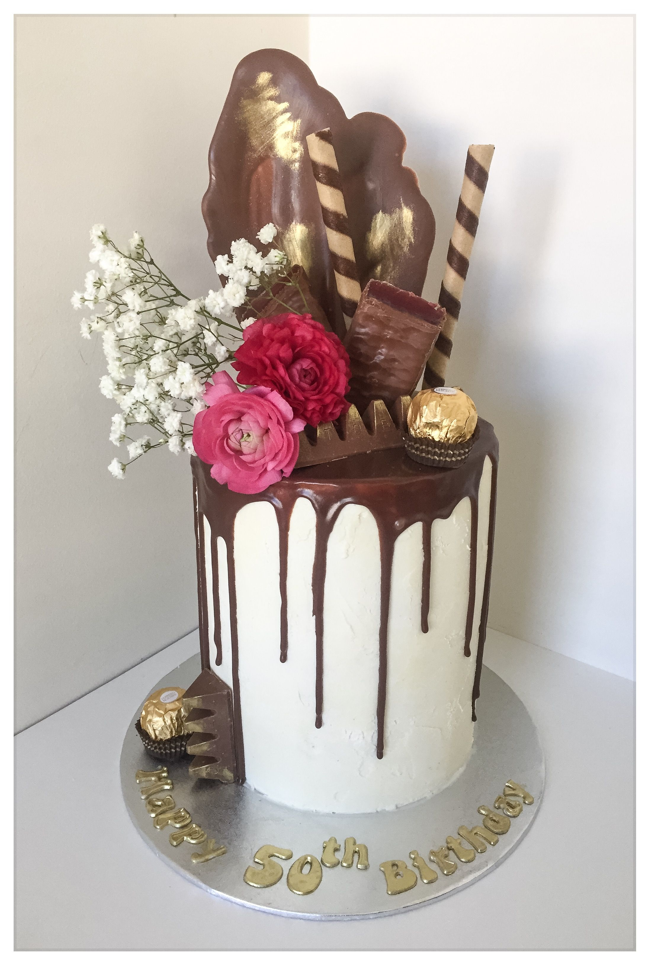 Chocolate Drip Cake For 50th Birthday By Ninis Sweet Cakes