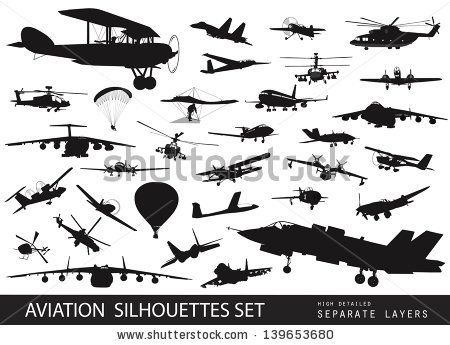 Vintage And Modern Aircraft Silhouettes Collection Vector On Separate Layers By Vadimmmus Via Shutterstock Vintage Planes Vintage Aircraft Plane Tattoo