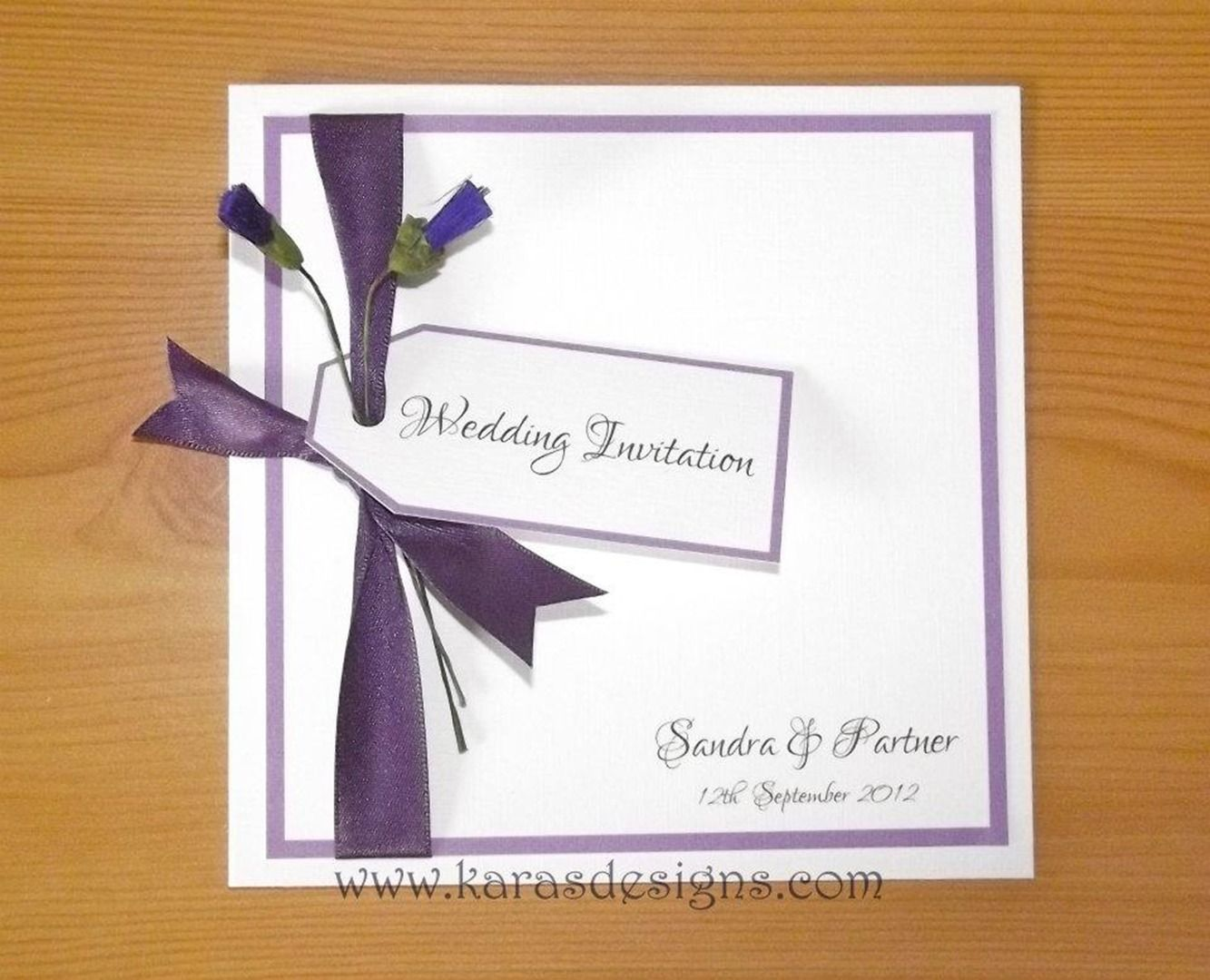 Folded Wedding invites scottish themed purple thistle wedding ...